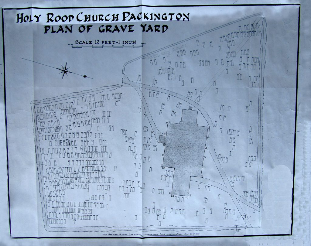 The 1939 layout plan of the Packington village churchyard